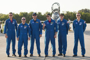 Space Shuttle Atlantis astronauts mission specialists Michael Good (L-R) and Garrett Reisman, Pilot Tony Antonelli, Commander Ken Ham, mission specialists Steve Bowen and Piers Sellers address the media after arriving at the shuttle landing facility in their T-38 jets at Kennedy Space Center, May 10, 2010 in Cape Canaveral, Florida. The Atlantis crew are preparing for their launch, scheduled for launch May 14, to the International Space Station.