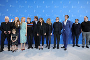 "(L-R) Director Abel Ferrara, Anna Ferrara, Cristina Chiriac, Dounia Sichov, Willem Dafoe, producer Philipp Kreuzer, producer Diana Phillips, producer Marta Donzelli, producer Paolo Del Brocco and producer Julio Chavezmontes pose at the ""Siberia"" photo call during the 70th Berlinale International Film Festival Berlin at Grand Hyatt Hotel on February 24, 2020 in Berlin, Germany."