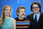 "(L-R) Dounia Sichov, Willem Dafoe, and producer Philipp Kreuzer pose at the ""Siberia"" photo call during the 70th Berlinale International Film Festival Berlin at Grand Hyatt Hotel on February 24, 2020 in Berlin, Germany."