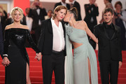 """(L-R) Virginie Efira, Justine Triet, Adele Exarchopoulos and Gaspard Ulliel depart the screening of """"Sibyl"""" during the 72nd annual Cannes Film Festival on May 24, 2019 in Cannes, France."""