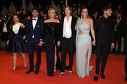 """(L-R) Laure Calamy, Niels Schneider, Virginie Efira, Justine Triet, Adele Exarchopoulos and Gaspard Ulliel depart the screening of """"Sibyl"""" during the 72nd annual Cannes Film Festival on May 24, 2019 in Cannes, France."""