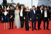 """Laure Calamy, Gaspard Ulliel, Adele Exarchopoulos, Justine Triet, Virginie Efira, Niels Schneider, Paul Hamy and Arthur Harari attend the screening of """"Sibyl"""" during the 72nd annual Cannes Film Festival on May 24, 2019 in Cannes, France."""