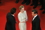 "Actors  Benicio Del Toro, Emily Blunt and Josh Brolin leave the Premiere of ""Sicario"" during the 68th annual Cannes Film Festival on May 19, 2015 in Cannes, France."