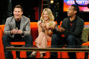"Actors Channing Tatum, Sienna Miller and Marlon Wayans play with their GI Joe character dolls during a visit to fuse's ""No. 1 Countdown"" at fuse Studios on August 4, 2009 in New York City."