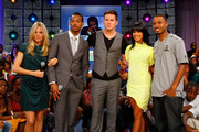"Actress Sienna Miller, actor Marlon Wayans, actor Channing Tatum with ""106th and Park"" host Rosci and Terrence during a visit to BET's ""106 & Park"" at BET Studios on August 3, 2009 in New York City."