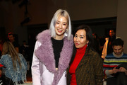 (L-R) Irene Kim and Tina Craig pose for photos at Sies Marjan during New York Fashion Week at Penn Plaza Pavilion on February 11, 2018 in New York City.