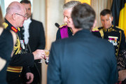 Sir Peter Cosgrove, Governor General of the Commonwealth of Australia and King Philip of Belgium brong out a toast at the beginning of the banquet at the Royal Castle on the first day of the official visit to Belgium on June 27, 2018 in Laeken, Belgium.