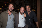 Marko Jaric, Arty Dozortsev and Rony Seikaly attend Sir Philip Green Hosts Dinner In Celebration Of Topshop Topman Miami Store Opening at Cecconi's at Soho Beach House on November 18, 2017 in Miami Beach, Florida.