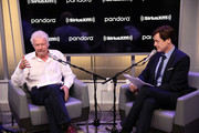 "Sir Richard Branson (L) And SiriusXM's John Fugelsang (R) attend a Special Broadcast Of ""Learning With Richard Branson"" With Guest David Miliband at SiriusXM Studios on September 25, 2019 in New York City."