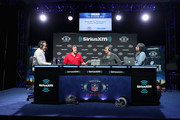 (L-R) Brady Quinn, George Kittle, Bruce Gradkowski and Bruce Murray attend SiriusXM at Super Bowl LIII Radio Row on January 31, 2019 in Atlanta, Georgia.