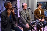 """(L-R) Actors Andre De Shields, Patrick Page and Reeve Carney attend SiriusXM's """"On Broadway Curtain Call With The Cast Of Hadestown"""" on May 09, 2019 in New York City."""