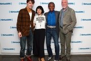 """(L-R) Actors Reeve Carney, Eva Noblezada, Andre De Shields and Patrick Page attend SiriusXM's """"On Broadway Curtain Call With The Cast Of Hadestown"""" on May 09, 2019 in New York City."""