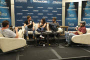 Charles Kelley, Hillary Scott and Dave Haywood of Lady Antebellum speak to Storme Warren and Al Skop  at the SiriusXM's The Highway broadcast backstage leading up to Academy of Country Music Awards at MGM Grand Garden Arena on April 6, 2019 in Las Vegas, Nevada.