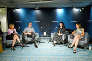 Nina Easton, S'well COO Jeff Peck, S'well CEO and founder Sarah Kauss, and Pattie Sellers visit SiriusXM Insight's Making A Leader series with CEO and Founder of S'well, Sarah Kauss & Husband and COO, Jeff Peck at SiriusXM Studios on July 31, 2019 in New York City.