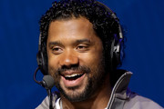 NFL quarterback Russell Wilson of the Seattle Seahawks speaks onstage during day 2 of SiriusXM at Super Bowl LIV on January 30, 2020 in Miami, Florida.