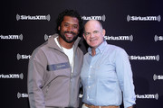 NFL quarterback Russell Wilson of the Seattle Seahawks and SiriusXM President and Chief Content Officer Scott Greenstein attend day 2 of SiriusXM at Super Bowl LIV on January 30, 2020 in Miami, Florida.