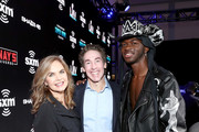 (L-R) SiriusXM host Victoria Osteen, SiriusXM host Joel Osteen and artist Lil Nas X take photos during day 3 of SiriusXM at Super Bowl LIV on January 31, 2020 in Miami, Florida.