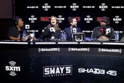 (L-R) SiriusXM host, Heather B, SiriusXM host Victoria Osteen, SiriusXM host Joel Osteen, SiriusXM host Sway Calloway speak onstage during day 3 of SiriusXM at Super Bowl LIV on January 31, 2020 in Miami, Florida.