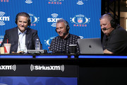 (L-R) Former sportscaster Steve Mariucci,  former NFL player Joe Montana and SiriusXM host Charlie Weis speaks onstage during day 3 of SiriusXM at Super Bowl LIV on January 31, 2020 in Miami, Florida.