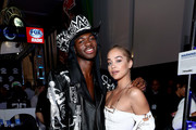 Artist Lil Nas X and SI Model Jasmine Sanders attend day 3 of SiriusXM at Super Bowl LIV on January 31, 2020 in Miami, Florida.