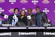 (L-R) (L-R) SiriusXM host Joel Osteen, SiriusXM host Victoria Osteen, Former NFL player Tony Dungy and Former NFL player Kurt Warner take photos during day 3 of SiriusXM at Super Bowl LIV on January 31, 2020 in Miami, Florida.