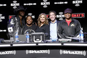 (L-R) Artist Lil Nas X, SiriusXM host, Heather B, SiriusXM host Victoria Osteen, SiriusXM host Joel Osteen, SiriusXM host Sway Calloway take photos onstage during day 3 of SiriusXM at Super Bowl LIV on January 31, 2020 in Miami, Florida.