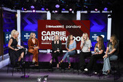 Jenny McCarthy, Carrie Underwood, Madison Marlow and Taylor Dye of Maddie and Tae and Hannah Mulholland, Naomi Cooke and Jennifer Wayne of Runaway June attend SiriusXM's Town Hall With Carrie Underwood Hosted By SiriusXM's Jenny McCarthy At The SiriusXM Studios on September 11, 2019 in Los Angeles, California.