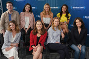 (Front Row) Taylor Louderman, Erika Henningsen, Nell Benjamin, Tina Fey, (Back Row) Grey Hensen, Barret Wilburt Weed, Kate Rockwell and Ashley Park take part in SiriusXM's Town Hall with the cast and creatives of 'Mean Girls' on Broadway hosted byÊEditorial Director at PEOPLE and EW Jess Cagle at SiriusXM Studios on May 8, 2018 in New York City.