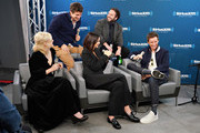 """Actors Alison Sudol, Callum Turner, Katherine Waterston, Dan Fogler and Eddie Redmayne take part in SiriusXM's Town Hall with the cast of """"Fantastic Beasts:The Crimes Of Grindelwald' on Entertainment Weekly Radio hosted by Jess Cagle at the SiriusXM Studio on November 5, 2018 in New York City."""