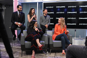 (L-R) Tony Shalhoub, Marin Hinkle, Alex Borstein, Michael Zegen and Rachel Brosnahan attend SiriusXM's Town Hall with the cast of 'The Marvelous Mrs. Maisel' hosted by SiriusXM's Michelle Collins on December 04, 2019 in New York City.