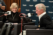 Singers Debby Boone (L) and Pat Boone speak onstage during SiriusXM's Town Hall with Pat Boone at Capitol Records Tower on November 22, 2016 in Los Angeles, California.