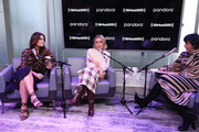 (L-R) Idina Menzel, Kristen Bell and Jessica Shaw visit SiriusXM's Town Hall at SiriusXM Studios on November 13, 2019 in New York City.