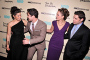 (L-R) America Ferrera, Darren Criss, Laura Osnes and Jeremy Jordan attend HBO's New York Premiere of 'Six by Sondheim' at Museum of Modern Art on November 18, 2013 in New York City.