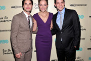 (L-R)Darren Criss, Laura Osnes and Jeremy Jordan attend HBO's New York Premiere of 'Six by Sondheim' at Museum of Modern Art on November 18, 2013 in New York City.