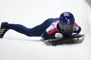 Shelley Rudman of Great Britain finishes a run during the Women's Skeleton on Day 7 of the Sochi 2014 Winter Olympics at Sliding Center Sanki on February 14, 2014 in Sochi, Russia.