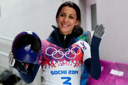 Shelley Rudman of Great Britain waves to the fans after competing a run during the Women's Skeleton on Day 7 of the Sochi 2014 Winter Olympics at Sliding Center Sanki on February 14, 2014 in Sochi, Russia.