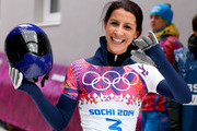 Shelley Rudman of Great Britain waves to fans after competing a run during the Women's Skeleton on Day 7 of the Sochi 2014 Winter Olympics at Sliding Center Sanki on February 14, 2014 in Sochi, Russia.