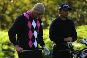 Craig Shave of Whetstone Golf Club and Matthew Cort of Rothley Park Golf Club look on during the final day of the Skins PGA Fourball Championships at Forest Pines Hotel and Golf Resort on October 7, 2011 in Brigg, England.