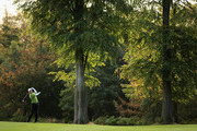 John Wells of Cherry Burton Golf Club plays a shot from the 2nd fairway during the final day of the Skins PGA Fourball Championships at Forest Pines Hotel and Golf Resort on October 7, 2011 in Brigg, England.