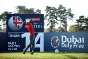 Edoardo Molinari of Italy tees off on the 14th hole during Day Three of Sky Sports British Masters at Walton Heath Golf Club on October 13, 2018 in Tadworth, England.