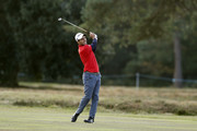 Edoardo Molinari of Italy plays his second shot on the 12th hole during Day Three of Sky Sports British Masters at Walton Heath Golf Club on October 13, 2018 in Tadworth, England.