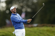 Thomas Aiken of South Africa plays his second shot on the 18th hole during Day Three of Sky Sports British Masters at Walton Heath Golf Club on October 13, 2018 in Tadworth, England.