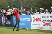 Edoardo Molinari of Italy tees off on the 17th hole during Day Three of Sky Sports British Masters at Walton Heath Golf Club on October 13, 2018 in Tadworth, England.