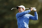 Edoardo Molinari of Italy plays his second shot on the 11th hole during Day Two of Sky Sports British Masters at Walton Heath Golf Club on October 12, 2018 in Tadworth, England.