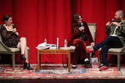 "Lena Dunham (L) appears on stage with Megan Mullally and Nick Offerman to discuss their book ""The Greatest Love Story Ever Told"" presented by Skylight Books at Aratani Theatre on October 3, 2018 in Los Angeles, California., California."
