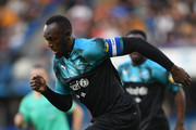 Usain Bolt of Soccer Aid World XI in action during the Soccer Aid for UNICEF 2019 match between England and the Soccer Aid World XI at Stamford Bridge on June 16, 2019 in London, England.