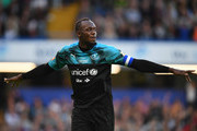 Usain Bolt of Soccer Aid World XI celebrates as he scores his team's first goal during the Soccer Aid for UNICEF 2019 match between England and the Soccer Aid World XI at Stamford Bridge on June 16, 2019 in London, England.
