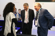 Fatma Samba Diouf Samoura, FIFA Secretary General talks with David Dein (C) and Gerard Houllier (R) in the VIP area during day 1 of the Soccerex Global Convention 2016 at Manchester Central Convention Complex on September 26, 2016 in Manchester, England.