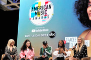 Bebe Rexha, Ella Mai, Kane Brown, Normani and Chelsea Briggs speak onstage during The '2018 American Music Awards' Nominations at YouTube Space LA on September 12, 2018 in Los Angeles, California.