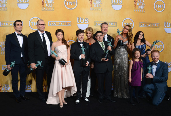 20th Annual Screen Actors Guild Awards - Press Room [event,award,premiere,ceremony,formal wear,suit,tourism,carpet,family,actors,ensemble,winners,nolan gould,ed oneill,ty burrell,sarah hyland,l-r,room,screen actors guild awards]